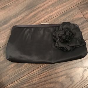 Banana Republic Black Satin Clutch with Flower